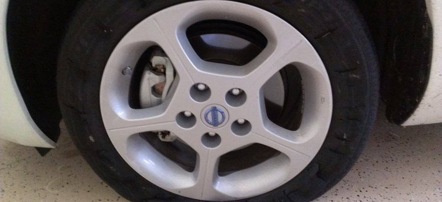Clark blows out a tire on his Nissan Leaf