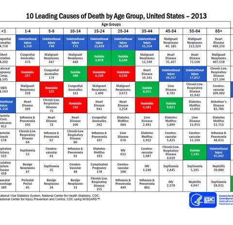 CDC data reveals the leading cause of death in every age group