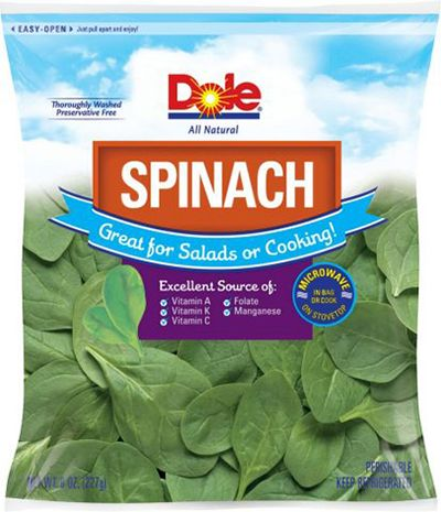 Dole recalls bagged spinach due to Salmonella concerns