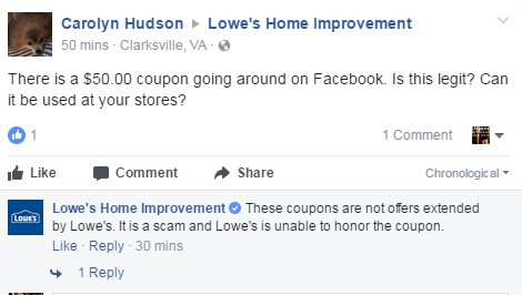 lowes $50 coupon on facebook