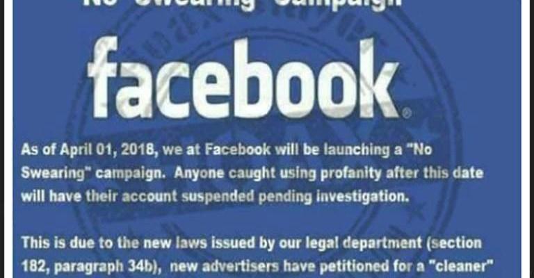 Fake Facebook 'No Swearing Campaign' image