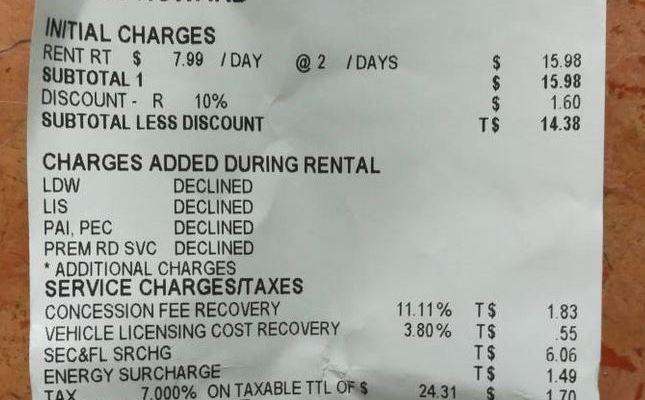 Clark Howard car rental receipt