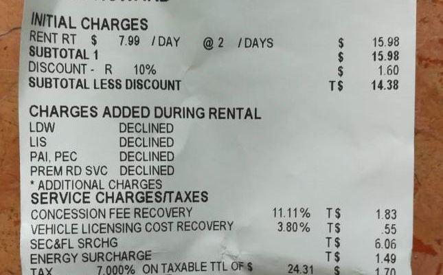 National Car Rental Receipt Copy
