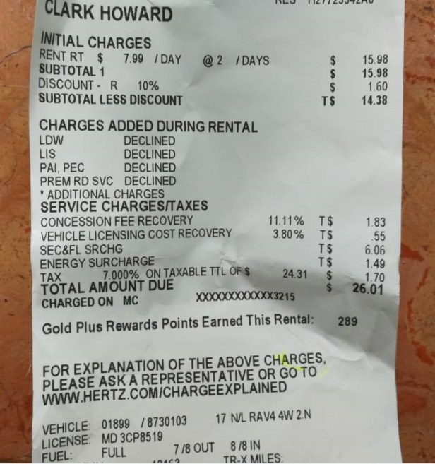 Clark Howard pays $7.14 a day for a rental car