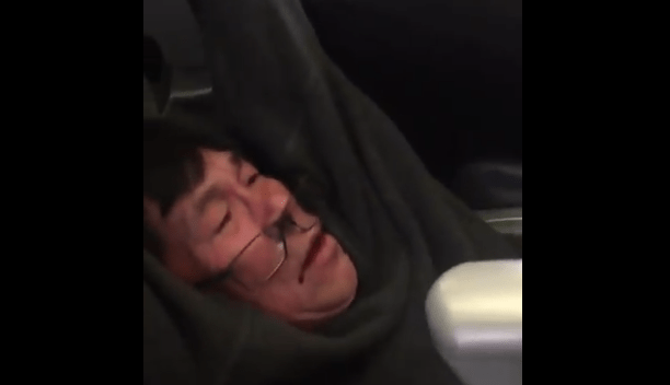 United flight 4311 passenger being removed