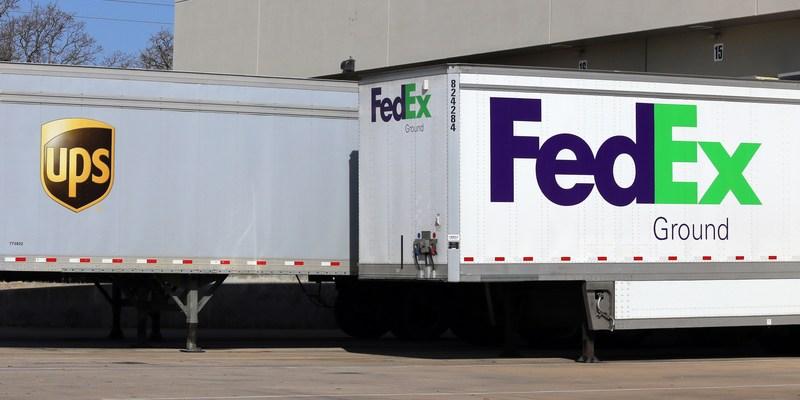 ups and fedex trucks - Fedex Garden City