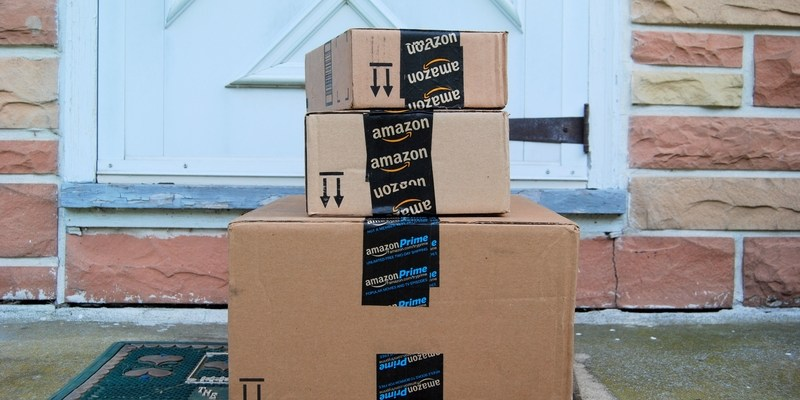 Amazon packages on front doorstep