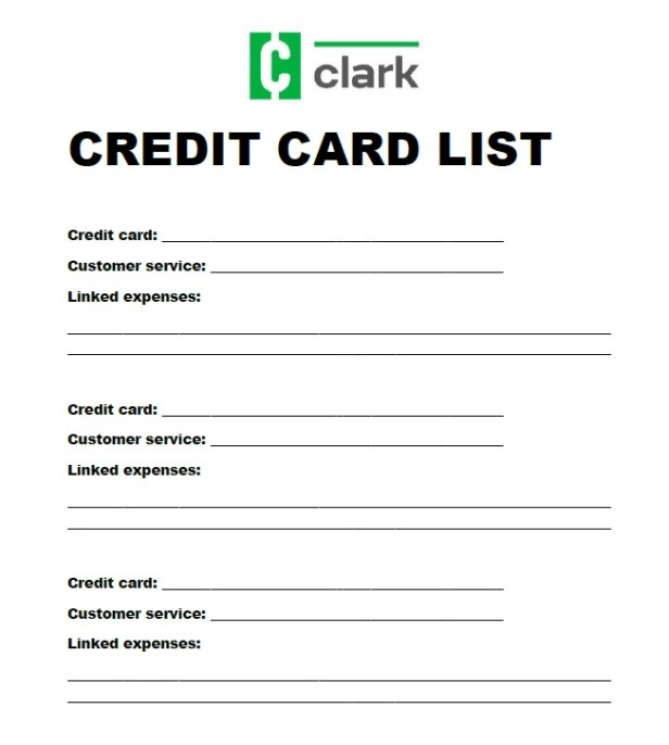 Credit card list sample