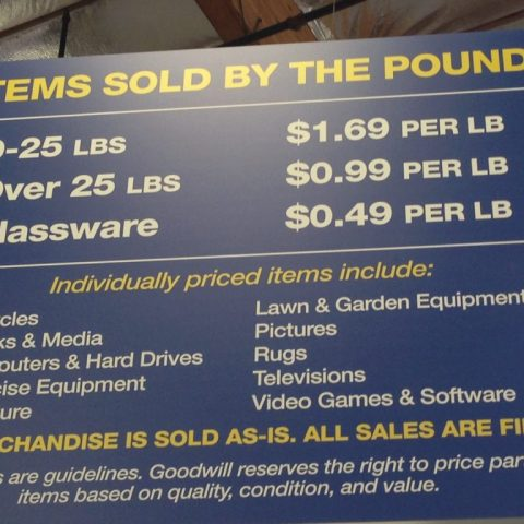 Save big bucks when you pay by the pound at a Goodwill Outlet!