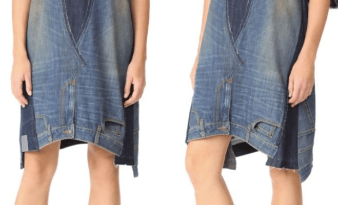 Worst denim trend yet? This $445 dress is made from oversized upside-down jeans