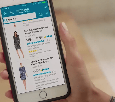 Amazon Wardrobe on smartphone