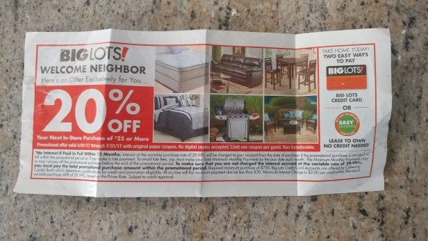 Big Lots 20% off coupon