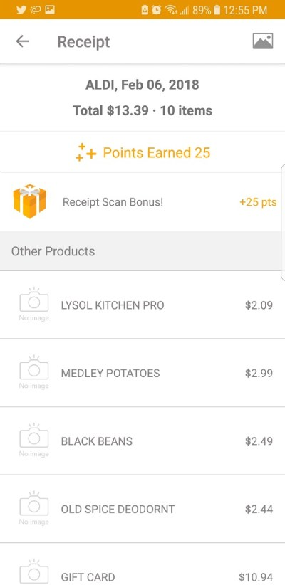 Fetch Rewards app at Aldi