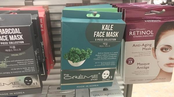Kale face masks at Macy's Backstage