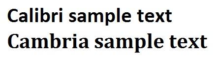 Calibri, Cambria resume text