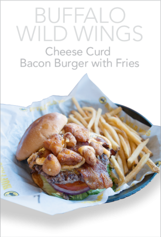 Buffalo Wild Wings Cheese Curd Bacon Burger with Fries