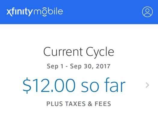 Xfinity Mobile $12 cell phone bill
