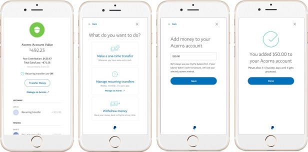 Acorns investing app screenshots