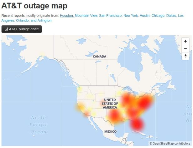 AT&T outage map