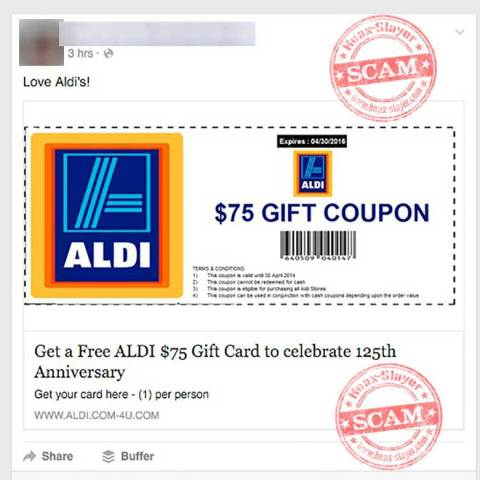 aldi scam coupon