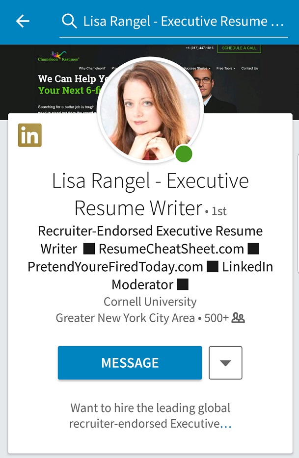 LinkedIn profile on a mobile device