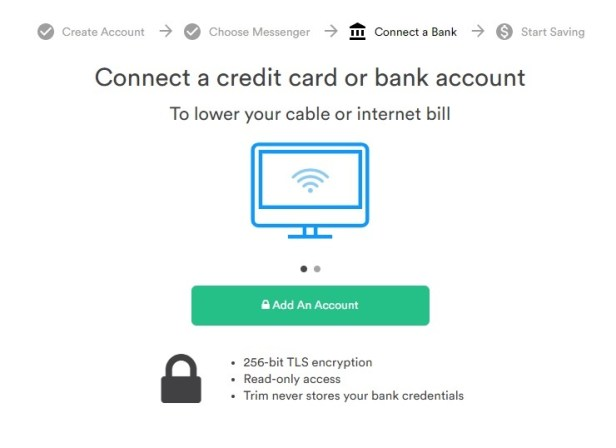 Trim asks to connect a credit card or bank account