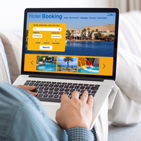 Hotel booking on computer