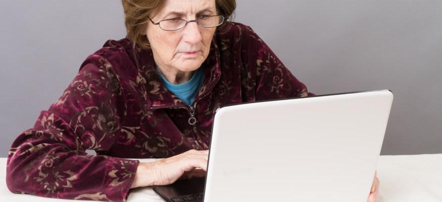 Elderly woman on Facebook