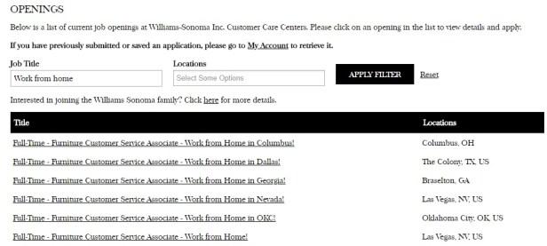 Williams-Sonoma job search