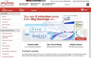 A screenshot of Lens.com's webpage for cheap contact lenses