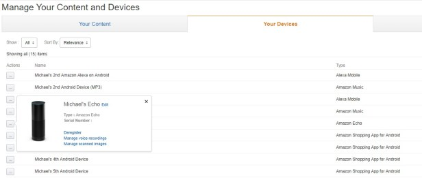 Amazon's Manage Your Content and Devices page