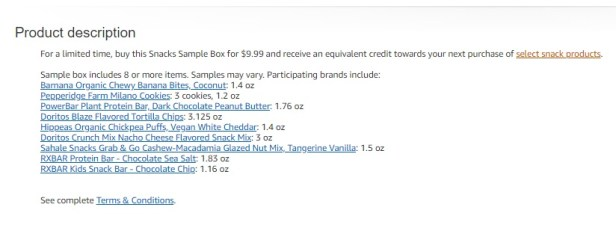 """Click on """"select snack products"""" to see the list of items that you can get with your Amazon.com credit"""