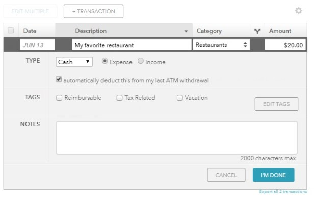 How to track cash spending with Mint