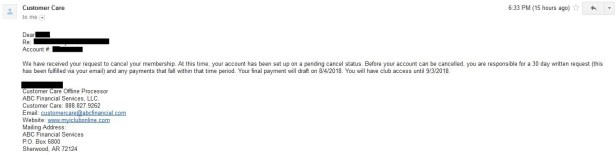 ABC Financial gym contact cancel confirmation
