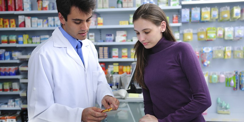 pharmacist and customer