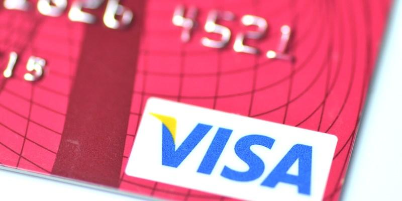 Visa logo on credit card