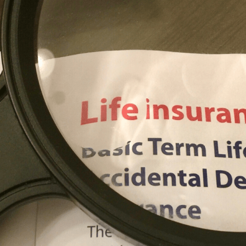 A document breaks down the coverages and cost of a Basic Term Life and Accidental Death Insurance policy.