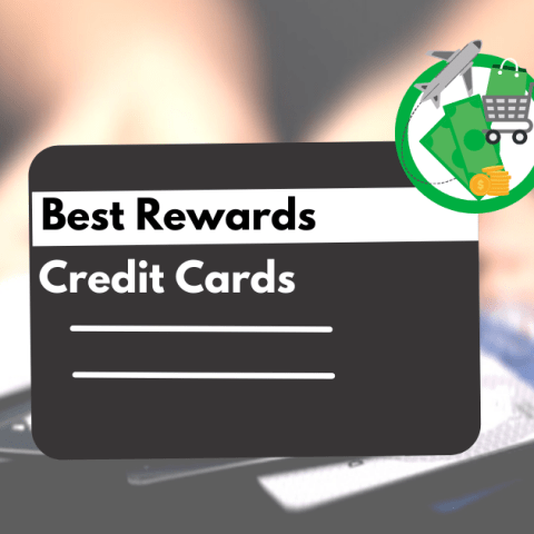"A black credit card labeled ""Best Rewards Credit Cards"" with options for best cash back, travel and shopping rewards"