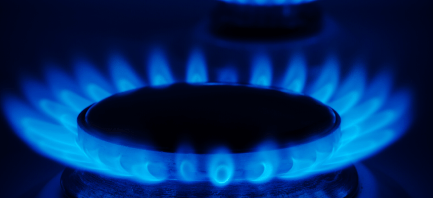 Natural gas flame on a kitchen stovetop
