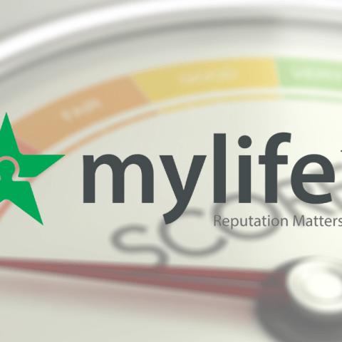 mylife.com logo overlaying a poor reputation score image