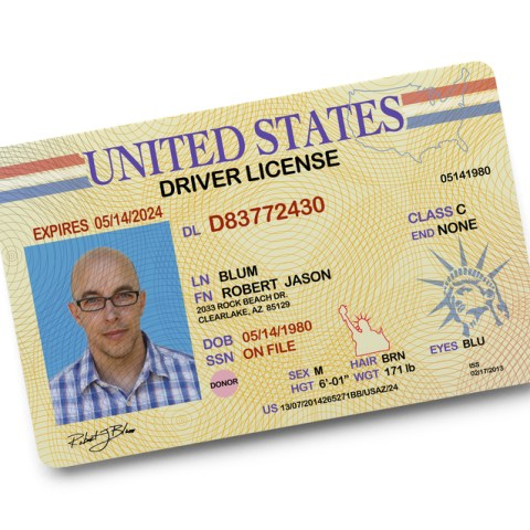 driver's license from department of motor vehicles DMV