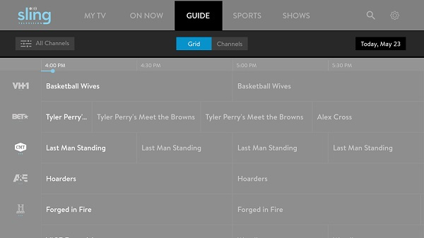 Sling TV's grid guide (Image: Sling TV)