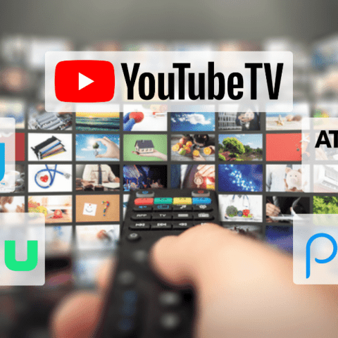Hand holding a remoting pointing to logos of YouTube TV, Sling TV, Hulu + Live TV, Philo and AT&T TV Now which are the best live TV streaming services in 2020