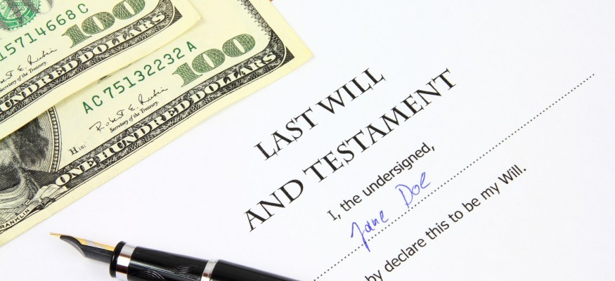 Last will and testament with $100 bills