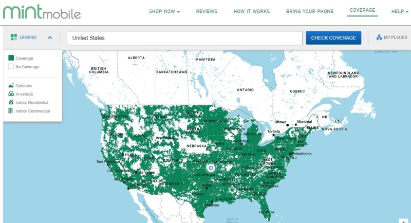 Mint Mobile coverage map