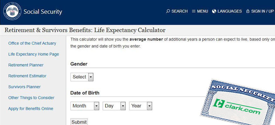 This Social Security calculator shows you how long you can expect to receive benefits