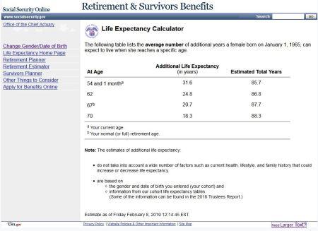 longevity calculator from social security