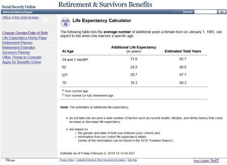longevity calculator from social security