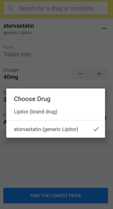 GoodRx mobile app - Choose generic or brand drugs