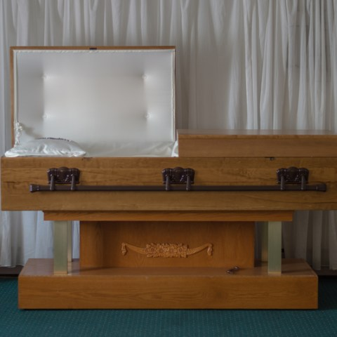 casket in funeral home